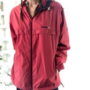 Reebok Classic jacket hooded windbreaker Sz L Red